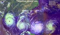 Satellite image Hurricane Andrew entering the Gulf of Mexico