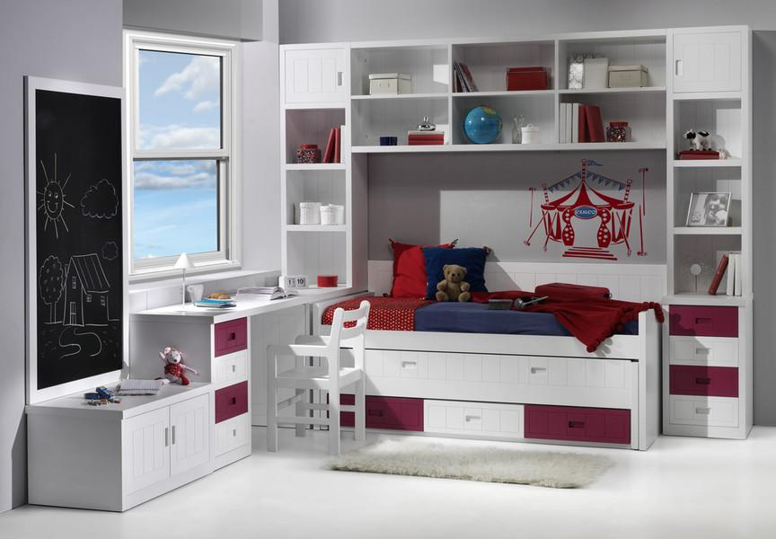 Dormitorio juvenil con litera de 2 camas y cajones - Dormitorios juveniles a medida ...