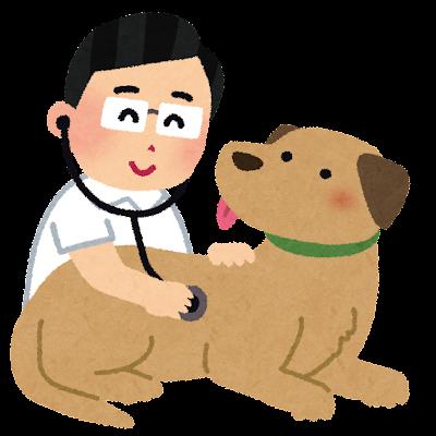 犬を検診する獣医さんのイラスト