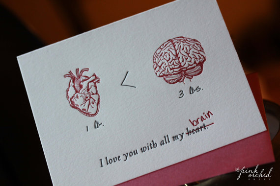 Heart/Brain card, Valentine's Day, Pink Orchid Press