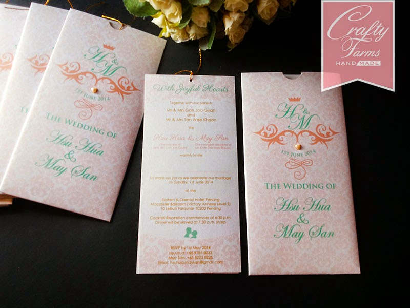 penang, malaysia and singapore handmade wedding card, vintage pocket card,