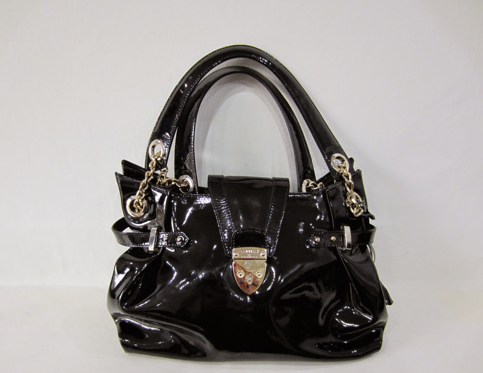 Aspinal of London Black Patent Barbarella Bag