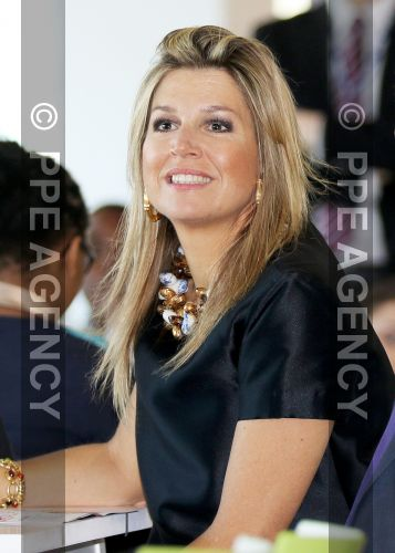 Queen Máxima of The Netherlands attended as the honorary president of platform Wiser in money matters at the Edge in Amsterdam a money-lesson part of the Money Week 2015