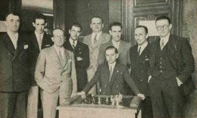 Participantes en el Torneo Internacional de Ajedrez de Gijón 1944