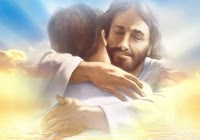 Welcome Home - Jesus embraces a disciple, welcoming him to heaven.