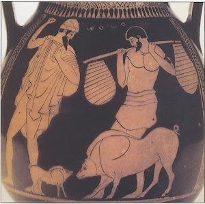 Odysseus and Eumaeus on a Greek red-figured vase Athens 5th century BC
