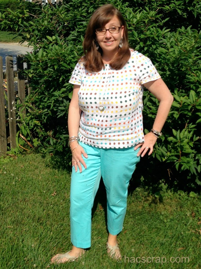 Boden Polka Dot Shirt paired iwth Aqua Cropped Pants