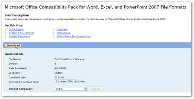 Bagaimana cara membuka dokumen dari ms office 2007 di ms - Office compatibility pack for office 2007 ...