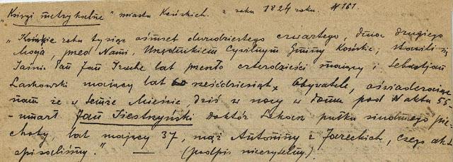 Księgi metrykalne miasta Końskich z roku 1824 nr 161. Akt śmierci Jana Siestrzyńskiego. Z notatek Henryka Seweryna Zawadzkiego w zbiorach KW.