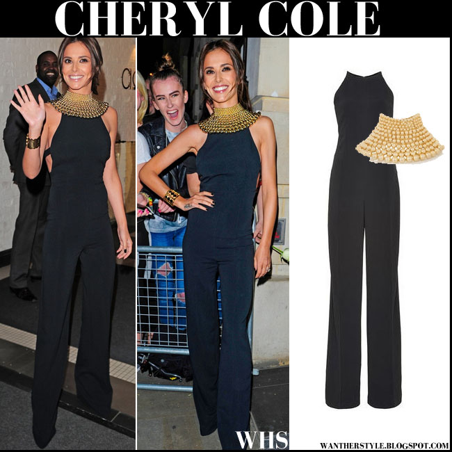 Cheryl Cole in black jumpsuit Narciso Rodriguez with gold chocker Rosantica