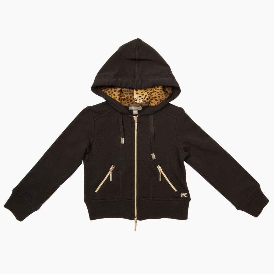 Microbe by Miss Grant - Black Girls' Hooded Sweatshirt with Leopard Print Details