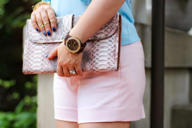 pink animal print clutch