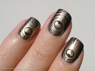nailz craze nc01 stamping plate peacock feather l'oreal owl's night barry m gold foil