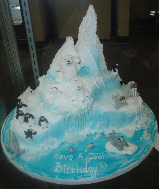Arctic Cake with Polar Bears, Penquins, Walrus, and Seals
