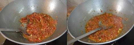 frying tomatoes for chole