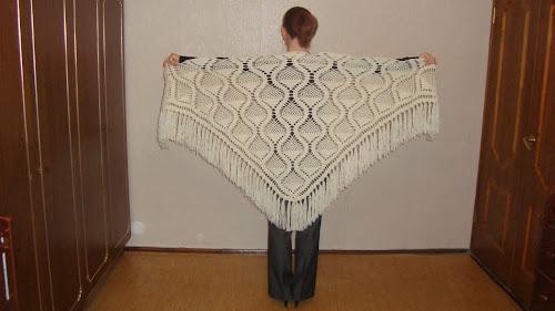 Модели вязаной белой шали