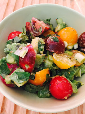 Italian Guacamole – a salad of chopped avocado, tomatoes, spring onions and basil