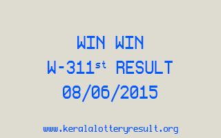 WIN WIN W 311 Lottery Result 8-6-2015