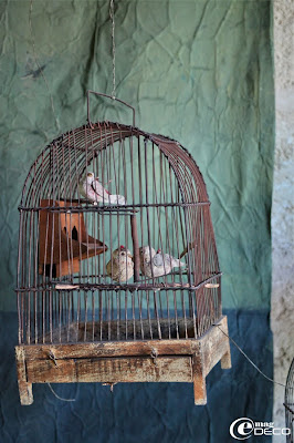 Paper birds in a cage, creations ofMiss Clara