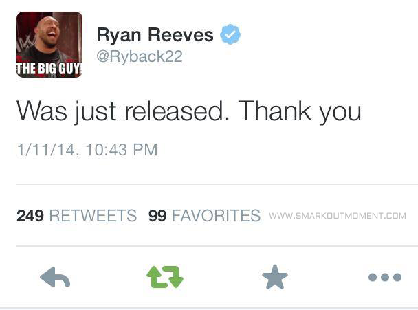 Twitter Ryback22 Released Ryan Reeves WWE Ryback