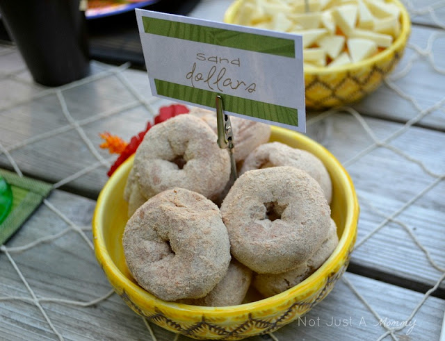 Aloha To Summer Party kids table sand dollar donuts