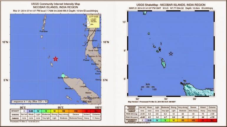 Sismo 6,5 grados en océano Indico, 21 de marzo 2014