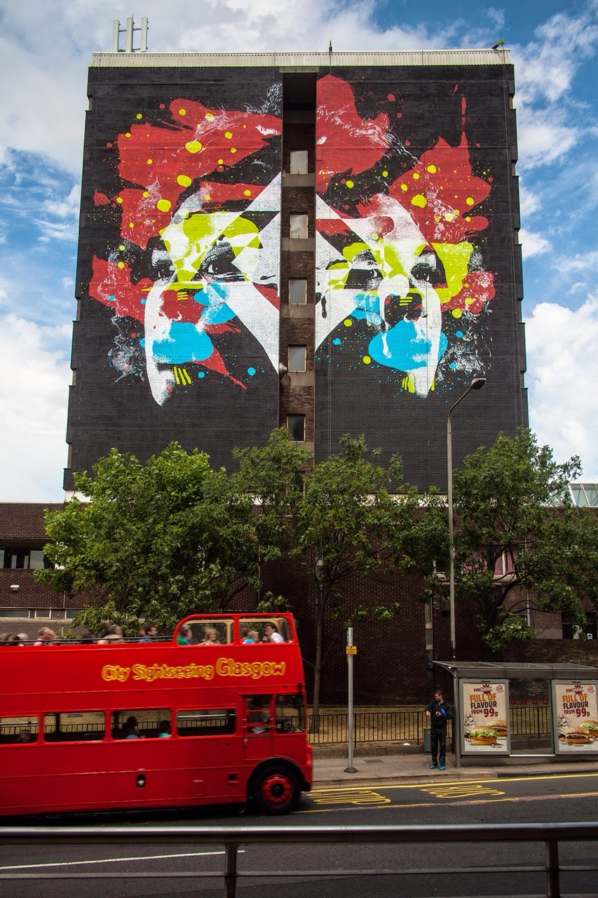 Before the successful opening of his exhibition in London, Askew One was in Scotland where he worked his magic on 6 storey building at the Townhead Campus of the City of Glasgow College at 230 Cathedral Street in the city centre.