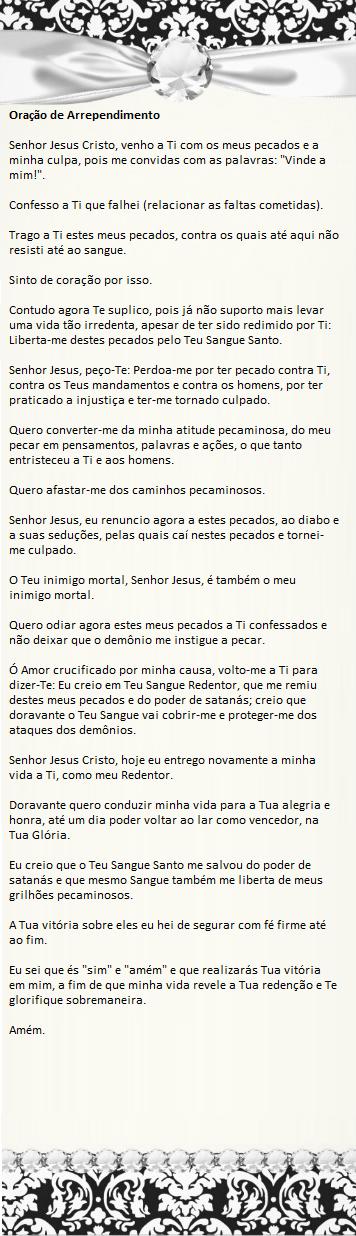 Muitas vezes Comunhão Católica: Oração de Arrependimento HF93