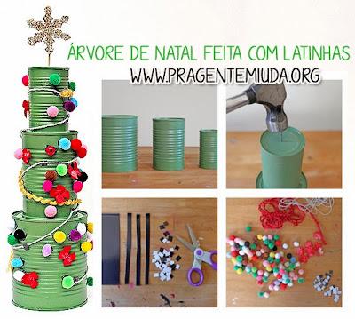 árvore de natal com reciclagem de latinha