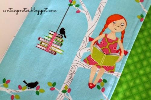 Capa de livro, capa de flauta, estojo em tecido - I love books