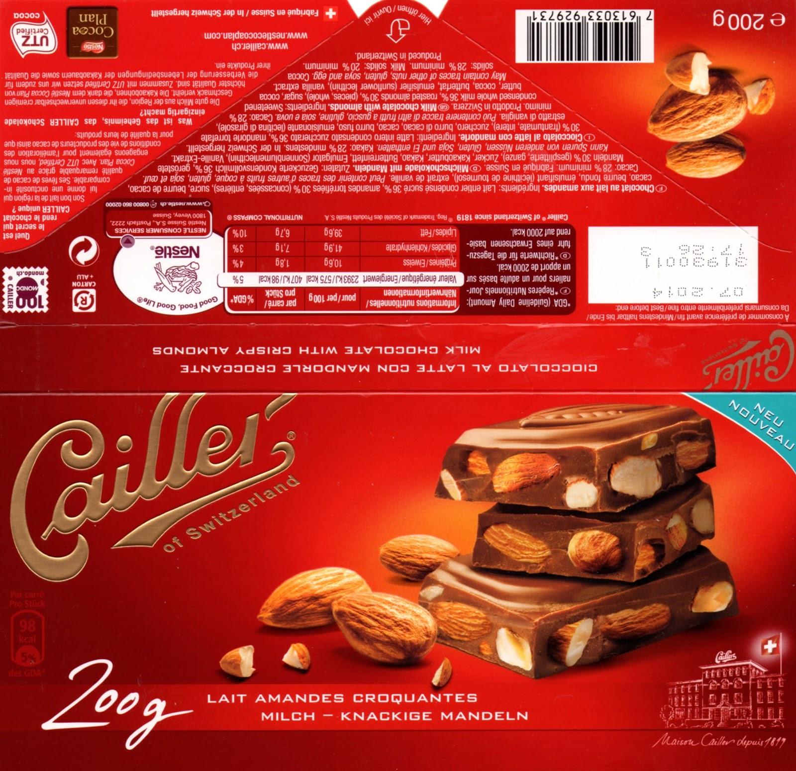 tablette de chocolat lait gourmand cailler lait amandes croquantes
