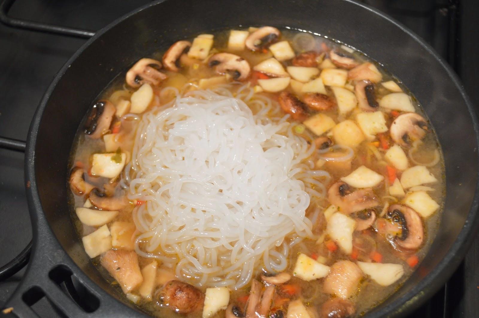 mushroom and king prawn miso soup with shirataki noodles