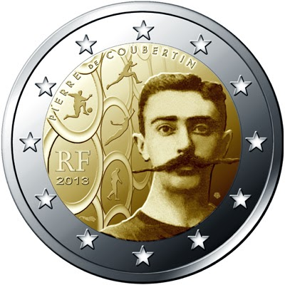 2 Euro Commemorative Coins France 2013 Birth of Pierre de Coubertin