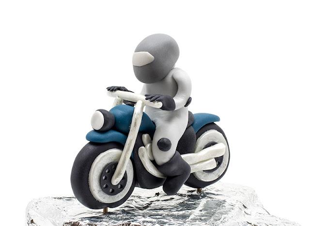 Biker Motor bike fondant topper front