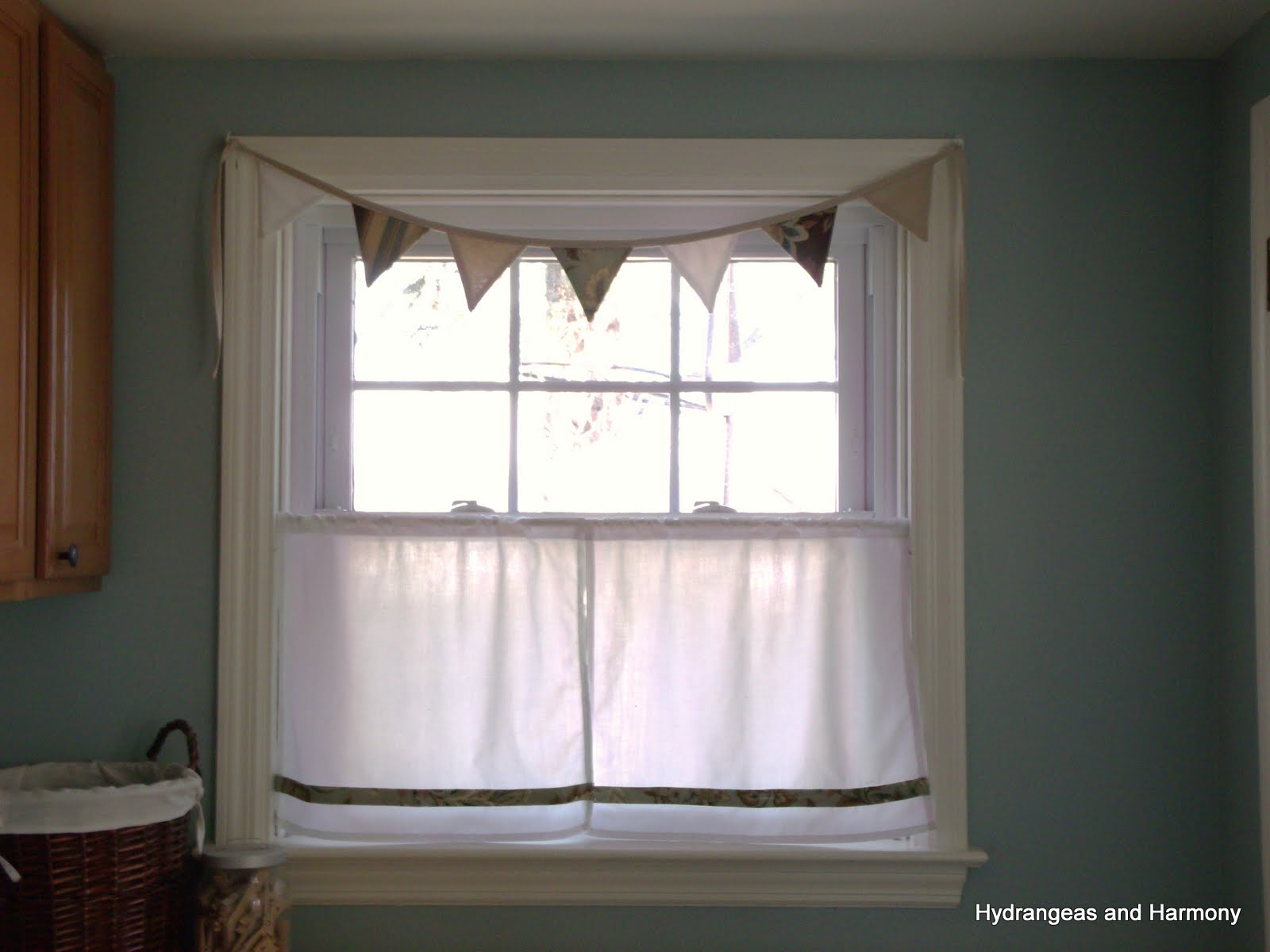 Hydrangeas And Harmony Laundry Room Window Treatment