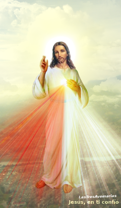 divina misericordia en las nubes