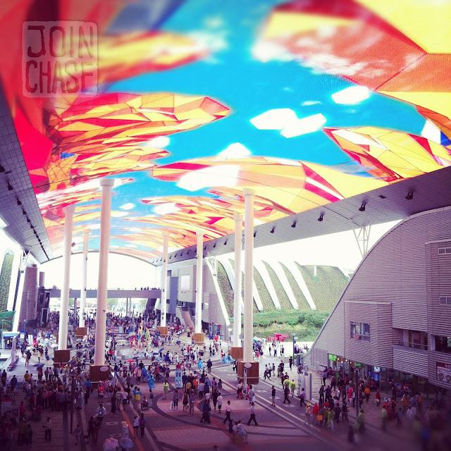 A giant digital screen at Yeosu World Expo 2012 in Yeosu, South Korea.