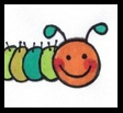 very hungry caterpillar, easy to draw caterpillar, cute caterpillar, happy caterpillar