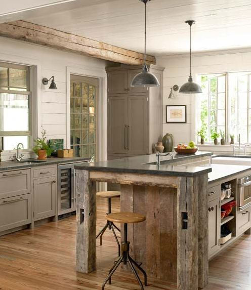Tg interiors the new country kitchen meets industrial for Rustic kitchen island ideas
