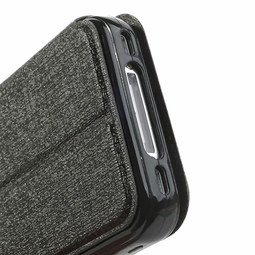 Oracle Grain Wallet Leather Case Cover with Stand for iPhone 4 4s - Black