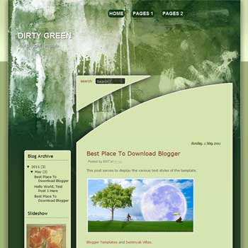 Dirty Green Wall Blogger Template. blogger template from wordpress theme. grunge blogger template
