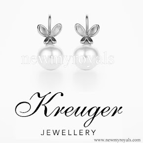 Crown Princess Victoria style Kreuger jewellery Amiral Round Pearl Earrings