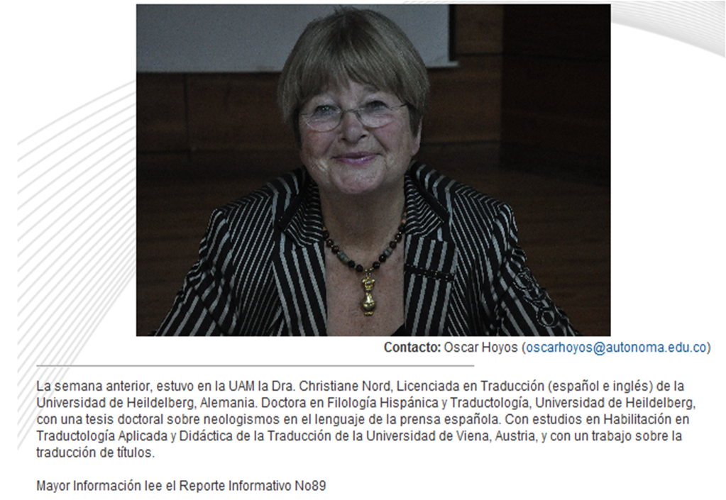 Instituto de idiomas uam dr christiane nord en la for Christiane nord