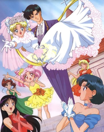 Dibujo de Sailor Moon de novia en su matrimonio