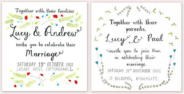 Handdrawn Whimsical Wedding Invitations