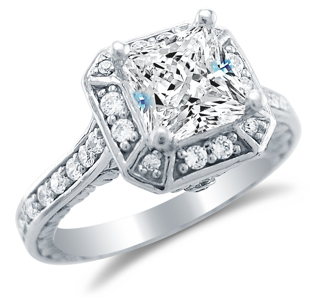 Design Wedding Rings Engagement Rings Gallery 14k White Gold Solitaire Cubic