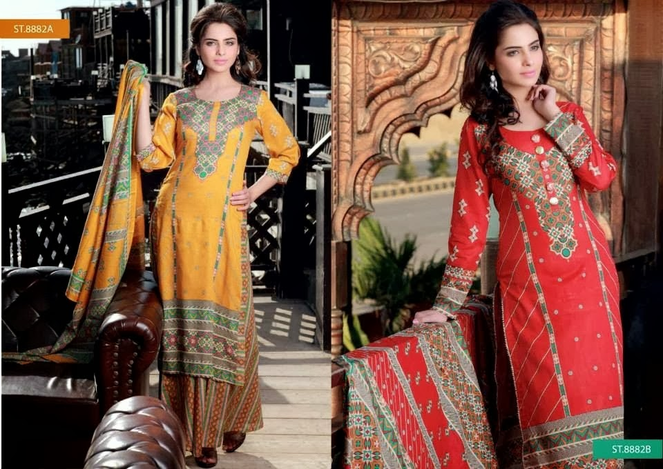 Printed Yellow and Red Lawn Suits