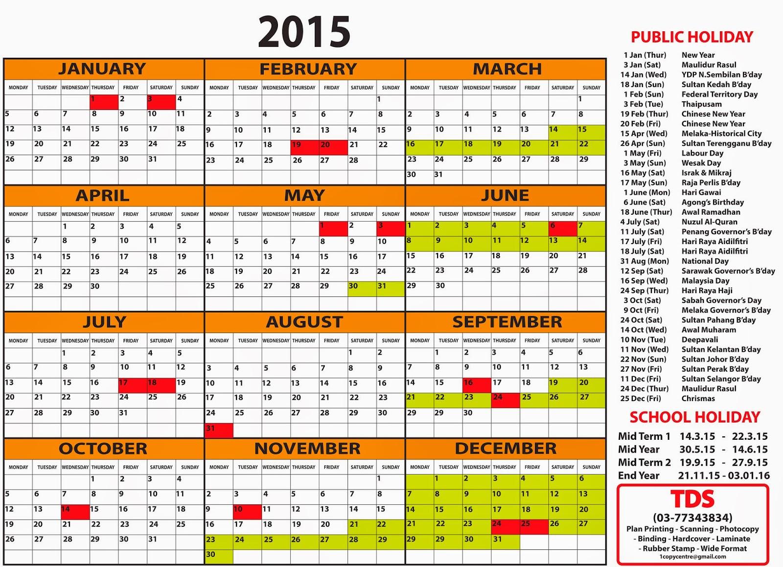 Planner Calendar 2015 Malaysia   New Calendar Template Site