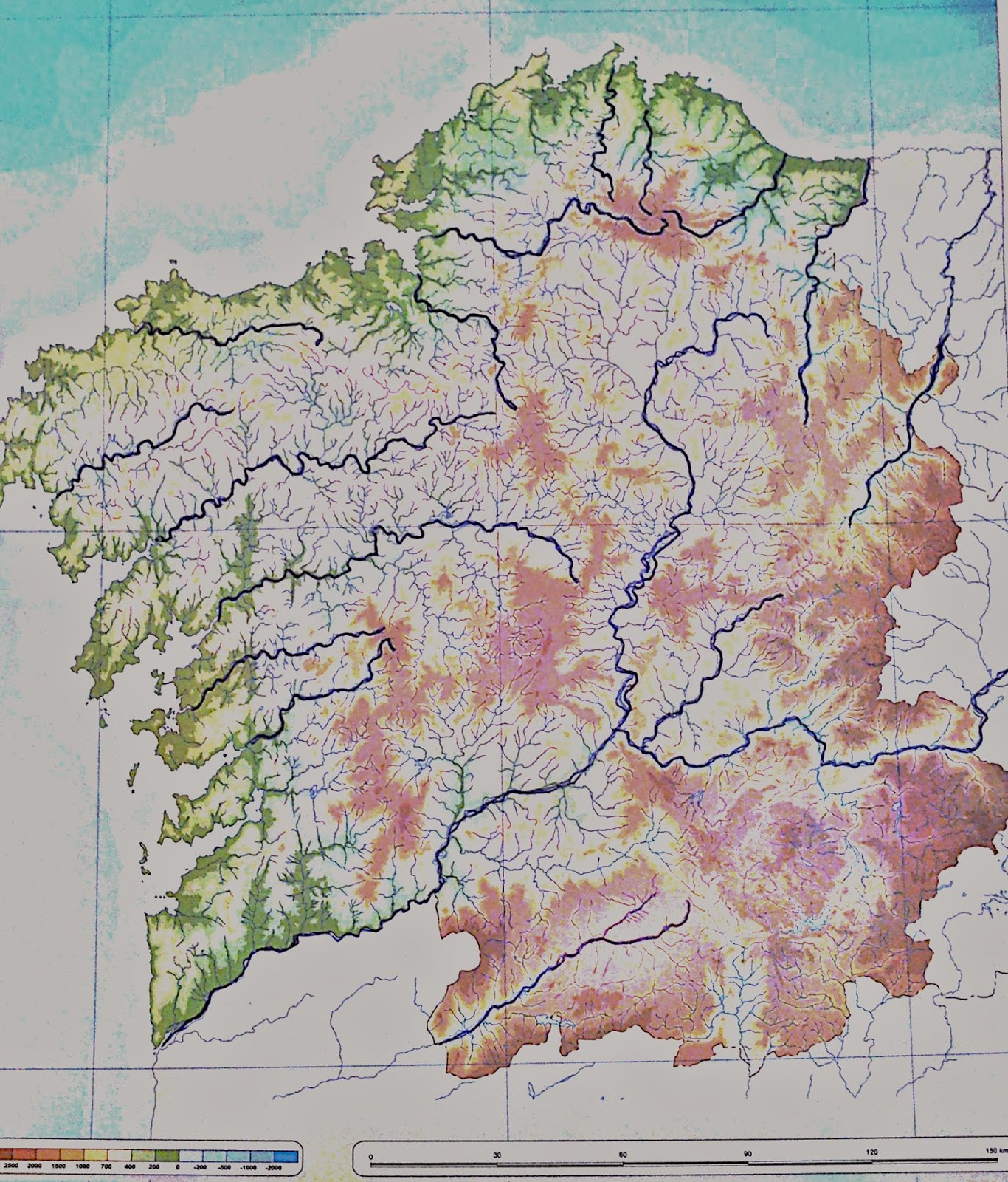 Mapa Mudo Rios Galicia Para Imprimir