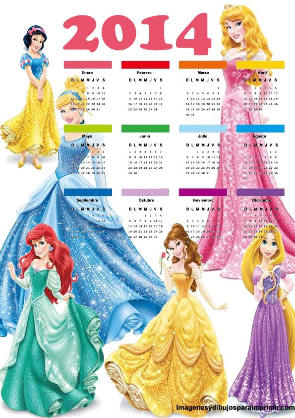 Calendario 2014 de princesas disney
